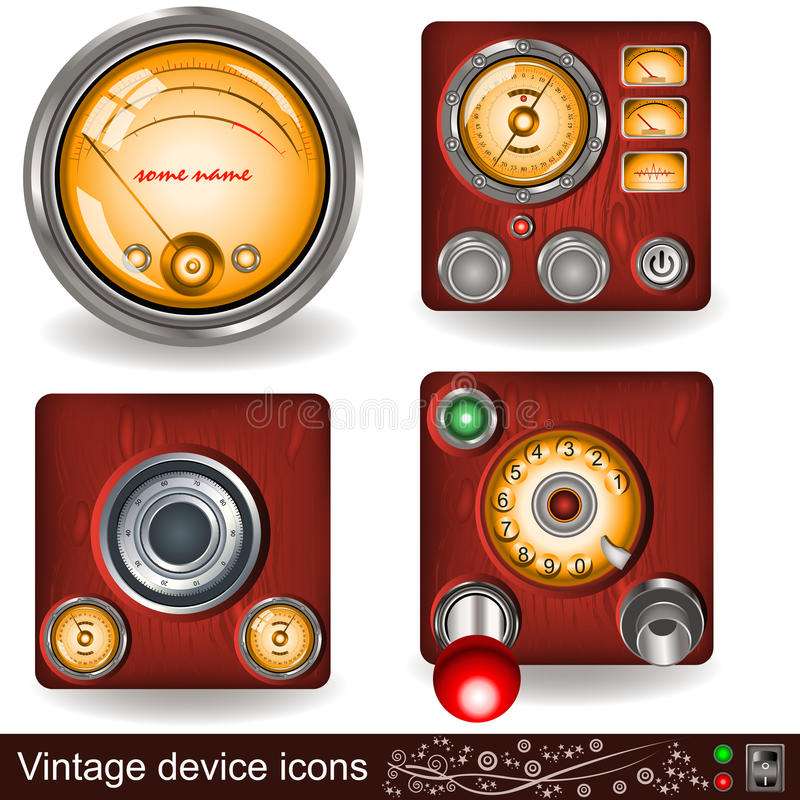 Download Vintage device icons stock vector. Image of light, image - 26112996