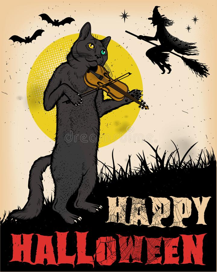 Vintage Dia das Bruxas Cat Playing Violin Poster ilustração royalty free