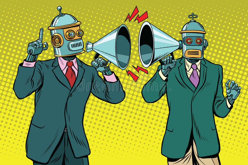 Vintage a dialogue between two robots royalty free illustration