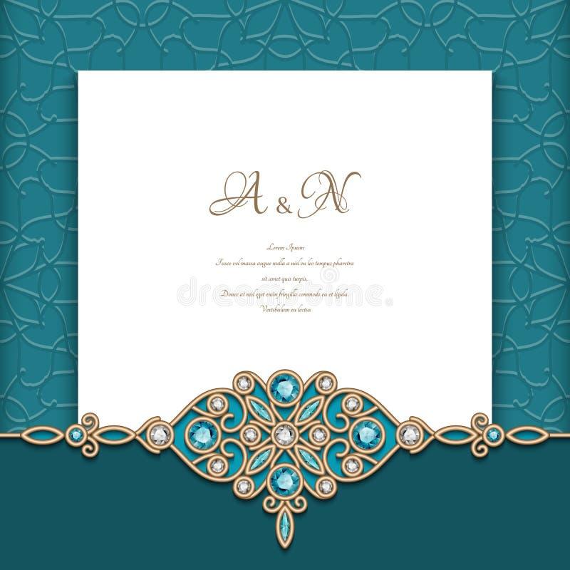 Vintage emerald background with jewellery border. Vintage emerald background with diamond jewelry border pattern, elegant greeting card or wedding invitation royalty free illustration