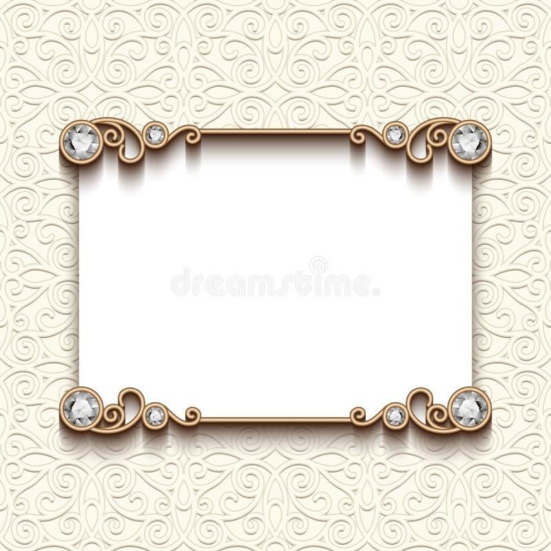 Vintage Diamond Jewelry Card Invitation Template Stock Vector - Wedding announcement template