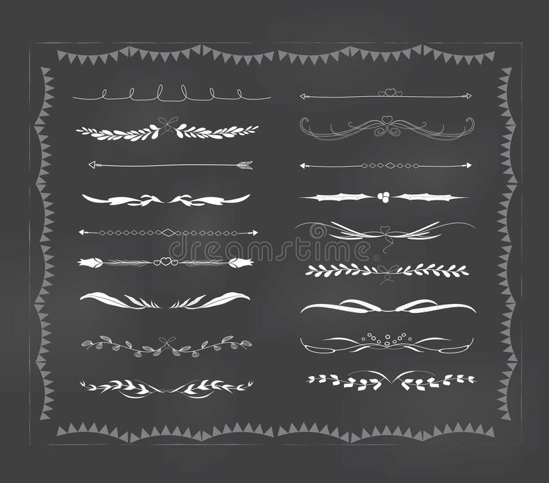 Vintage dibujado mano del divisor del texto de la pizarra libre illustration