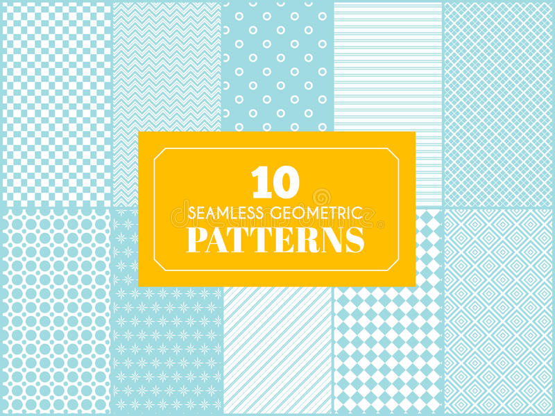 Vintage different vector seamless patterns. royalty free illustration