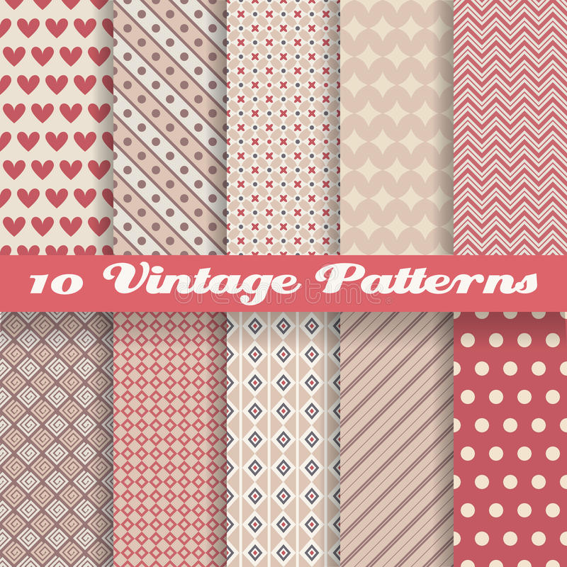 Vintage different vector seamless patterns royalty free illustration