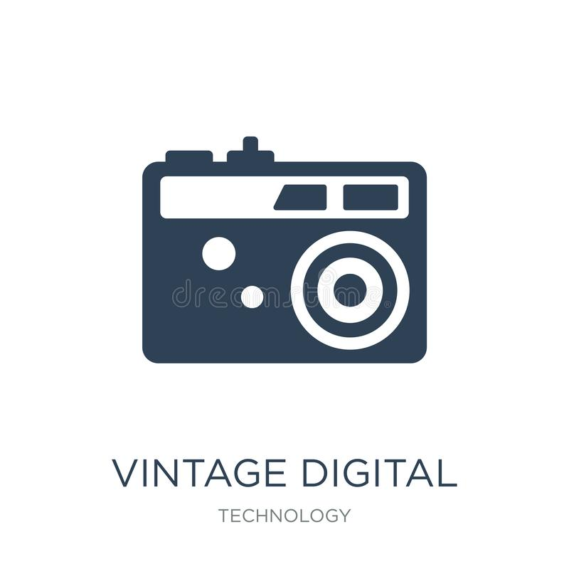 Vintage digital camera icon in trendy design style. vintage digital camera icon isolated on white background. vintage digital. Camera vector icon simple and stock illustration