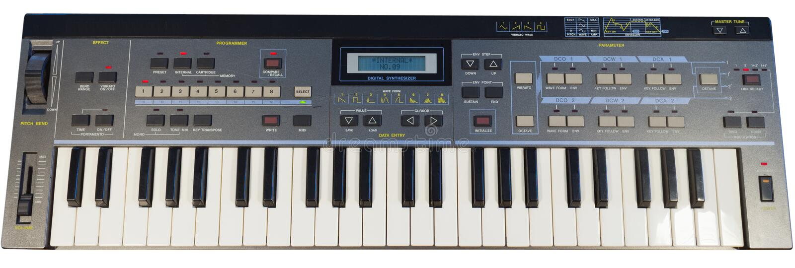 Vintage digital synthesizer stock photos