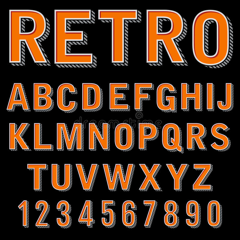 Vintage 3 dimensional typeset, retro font, vector letters and numbers, decorative type, cartoon alphabet. Retro design alphabet typeface illustration royalty free illustration