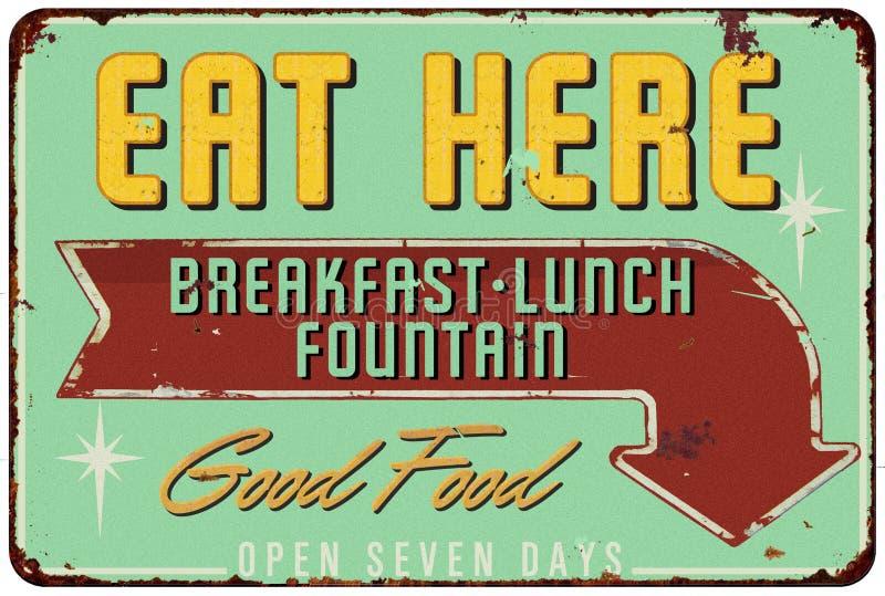 Vintage Diner Soda Fountain TIn Sign. Eat Here Vintage Diner Tin Sign Good Food Retro Breakfast Lunch Restaurant stock illustration