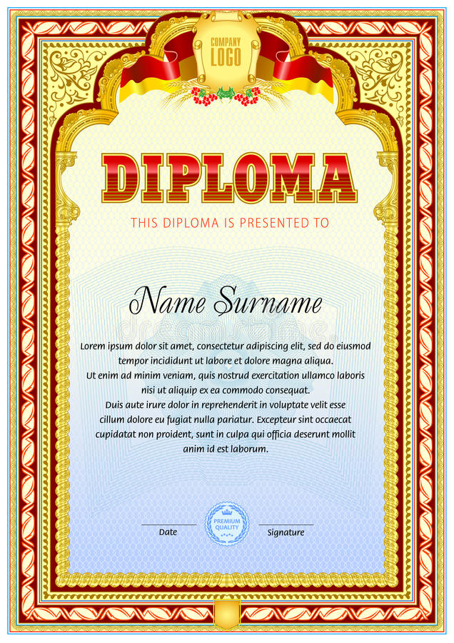 Vintage Diploma blank template vector illustration