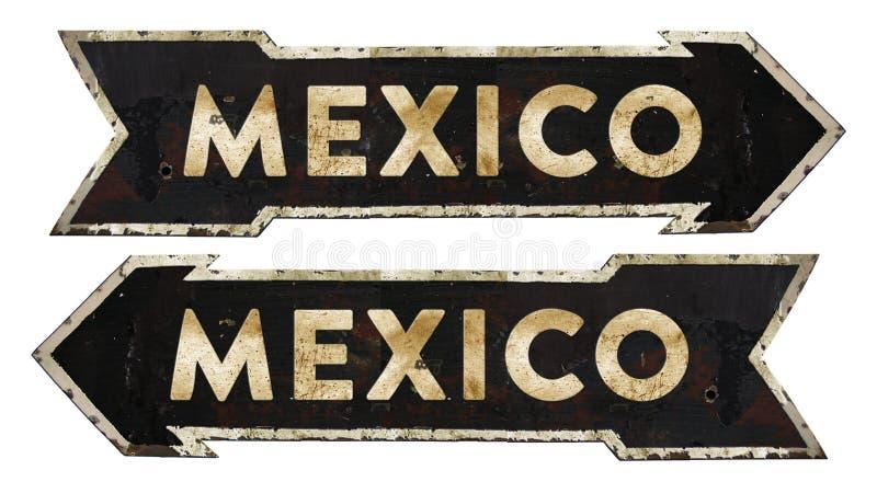 Vintage direccional de la señal de tráfico de México fotos de archivo libres de regalías