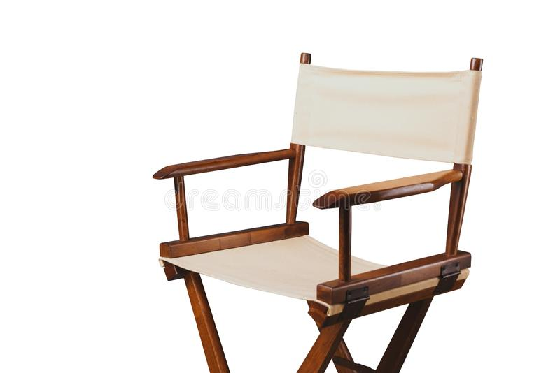 Retro director chair on white. Vintage director chair isolated on white stock photography