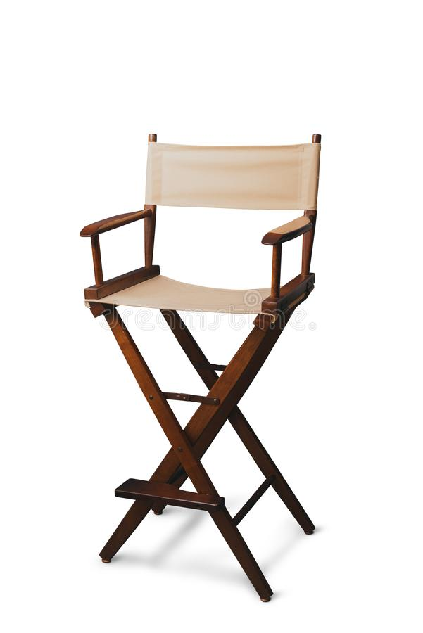 Retro director chair on white. Vintage director chair isolated on white royalty free stock photography