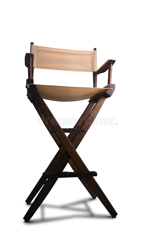 Retro director chair on white. Vintage director chair isolated on white royalty free stock photos