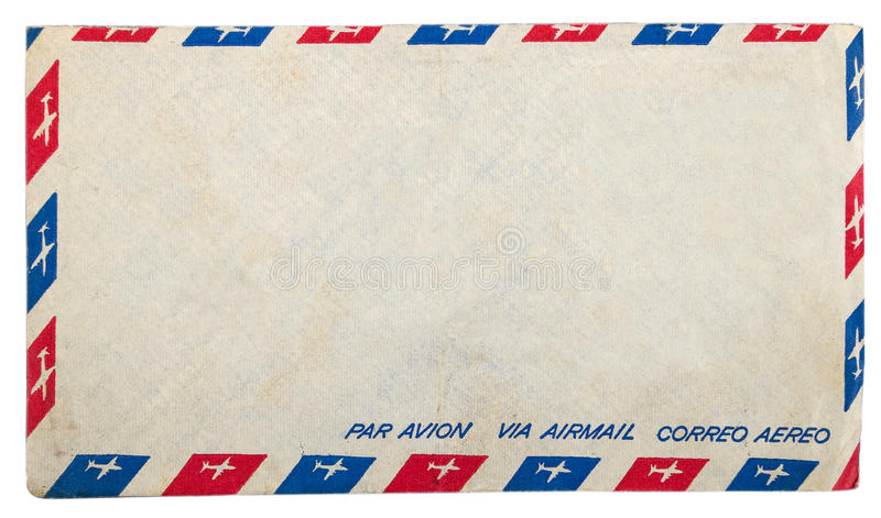 Vintage dirty airmail envelope. On white background royalty free stock images
