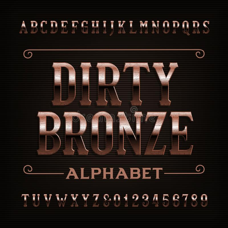 Vintage dirty bronze alphabet font. Scratched letters and numbers. Stock vector typeface for your design vector illustration