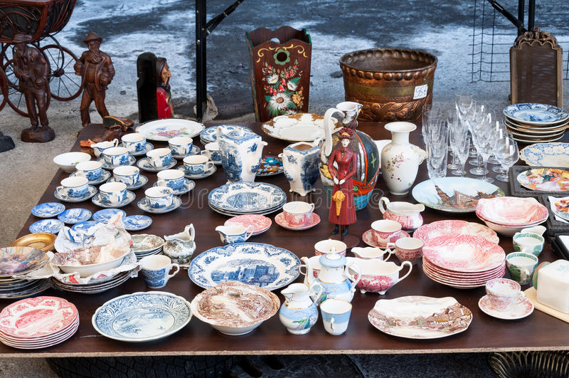 Flea market dishes royalty free stock image