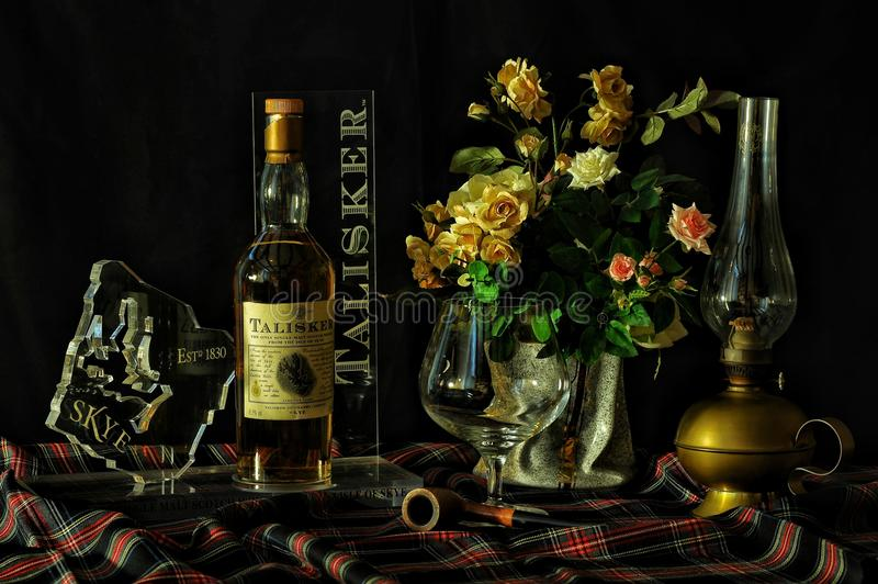 Vintage display of Scottish whisky stock photography