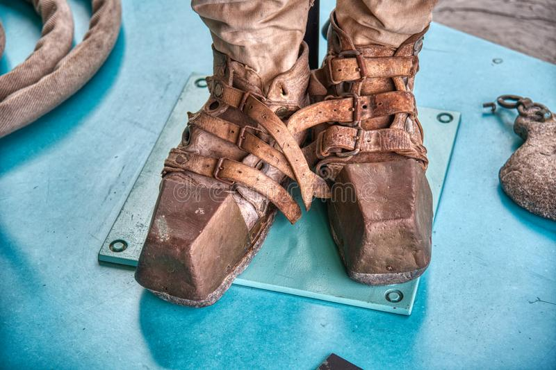 Vintage diver shoes royalty free stock photography