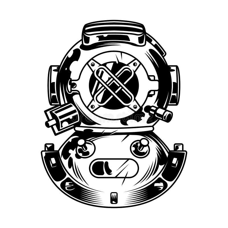 Vintage diving helmet concept stock illustration