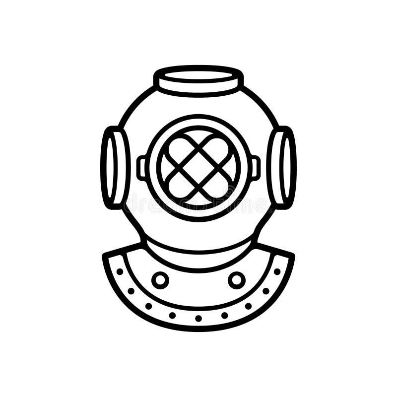 Vintage diving helmet stock illustration