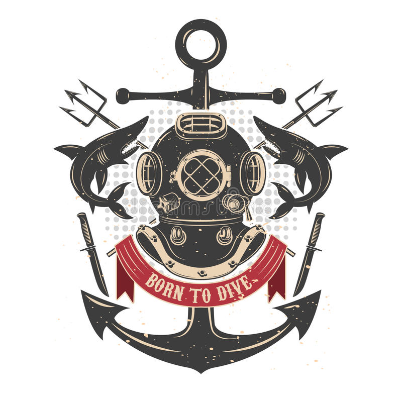 Vintage diving helmet with sharks and tridents. Divers club emblem template. vector illustration