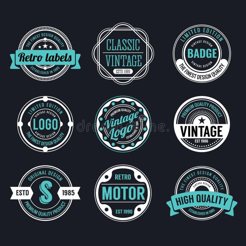 Vintage do círculo e projeto retro do crachá ilustração royalty free