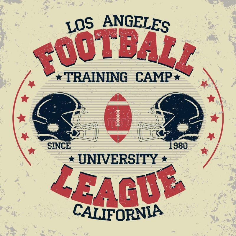 Vintage do futebol de Califórnia, gráficos do t-shirt ilustração stock