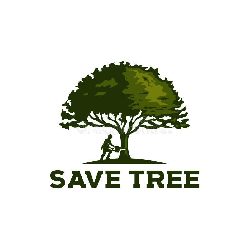 vintage do logotipo de Oak Tree do lenhador ilustração stock