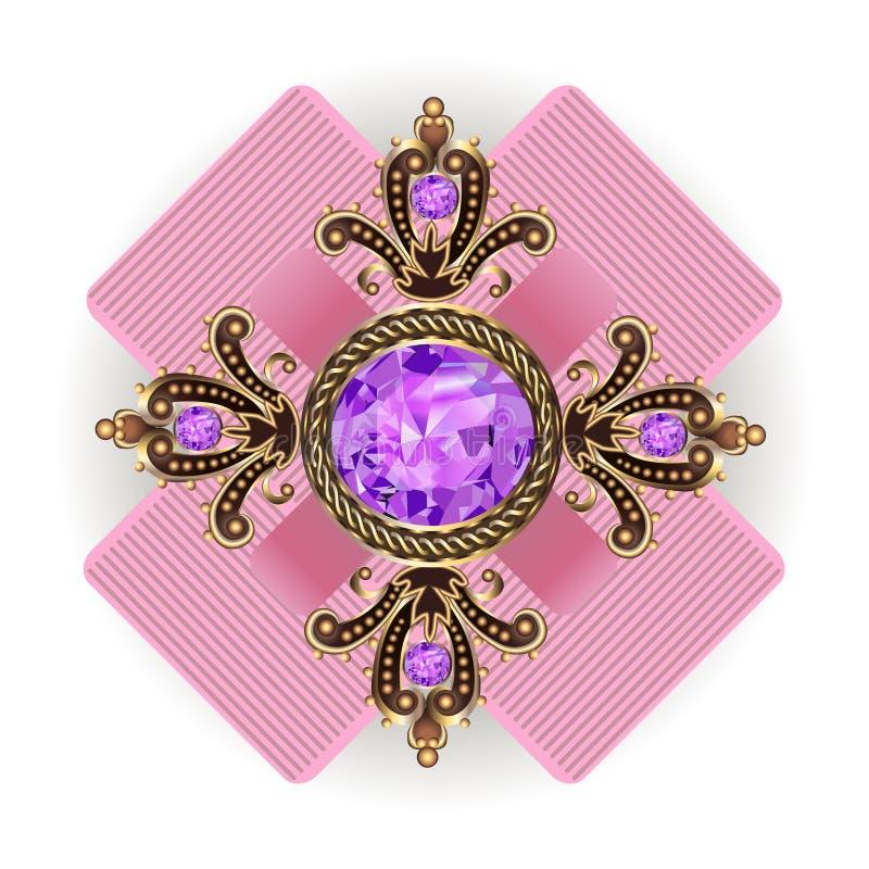 Vintage do pendente do broche com joias ilustração royalty free