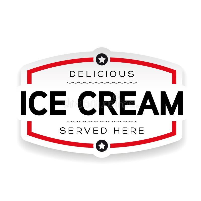 Vintage do sinal da etiqueta do gelado ilustração do vetor