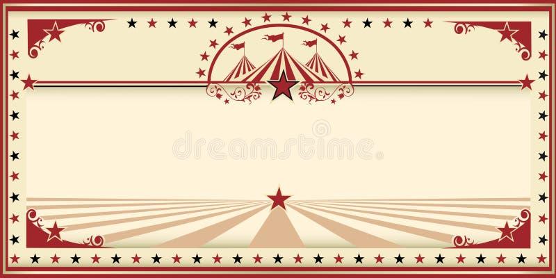 Vintage do vermelho do cartão do circo ilustração royalty free