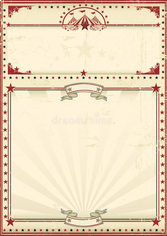 Vintage do vermelho do cartaz do circo ilustração royalty free