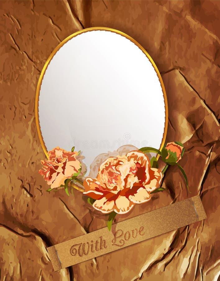 Vintage do vetor com flores e um espelho ilustração do vetor