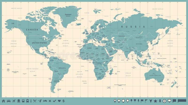 Vintage do vetor do mapa do mundo Ilustração detalhada do worldmap ilustração stock