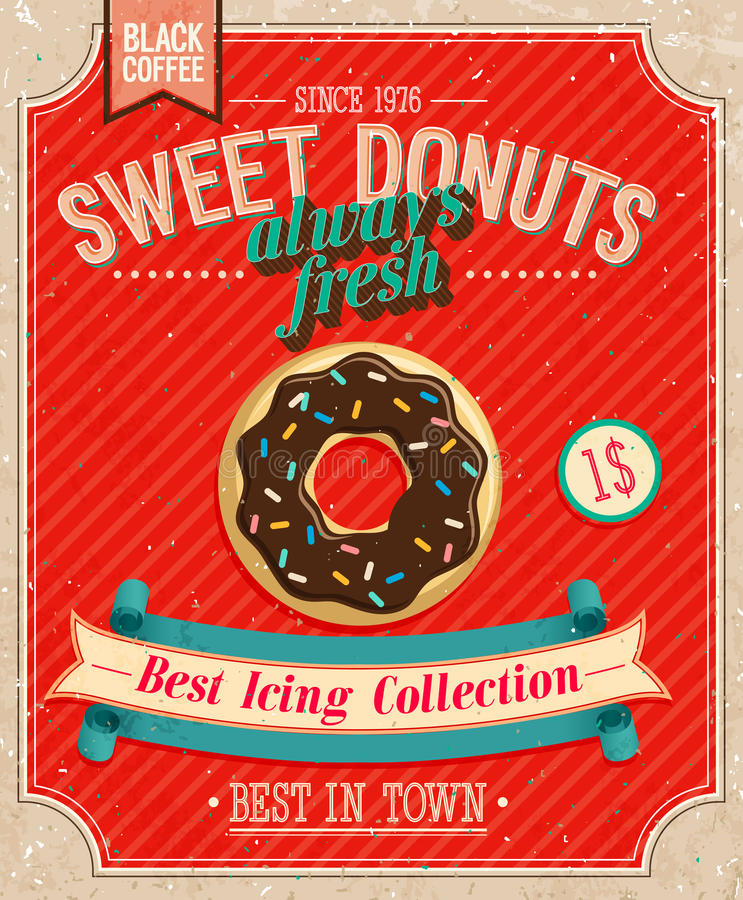 Free Vintage Donuts Poster. Royalty Free Stock Photography - 33212327