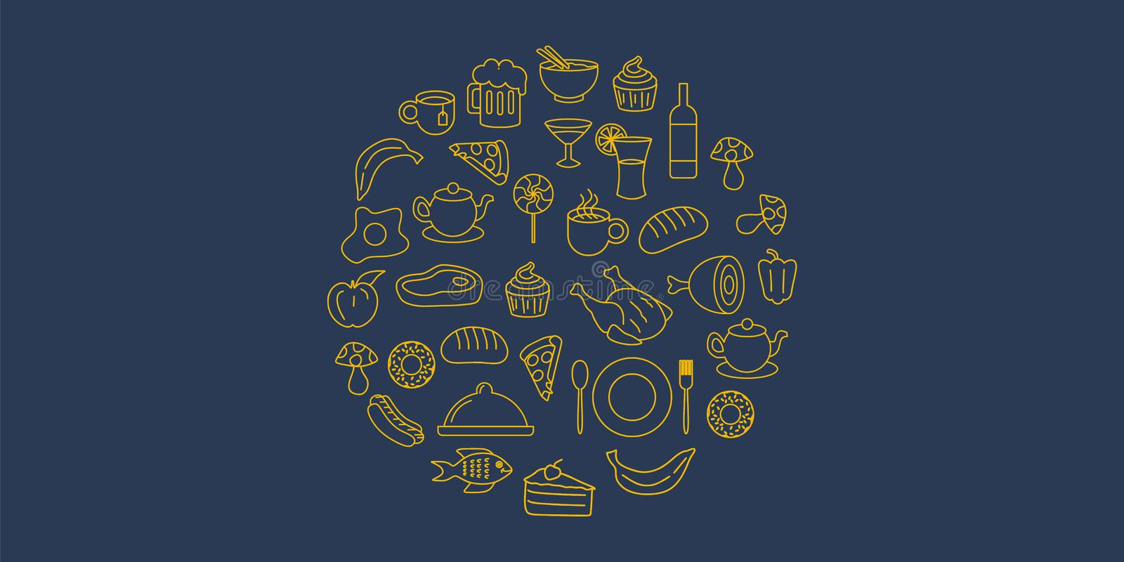 Vintage doodle food objects with hand drawn line art style. Outline vector illustration round composition stock illustration