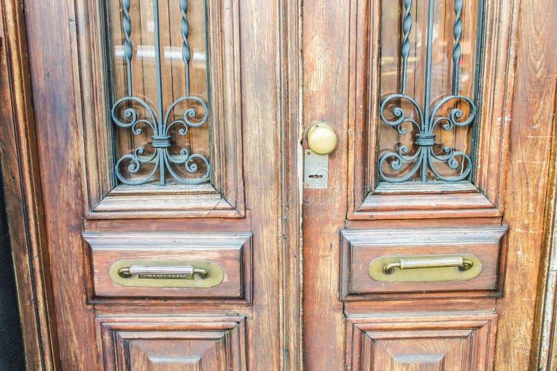 Vintage Door Detail Architecture Architectural Symbol. Closeup Brown Timber Doorway stock photography