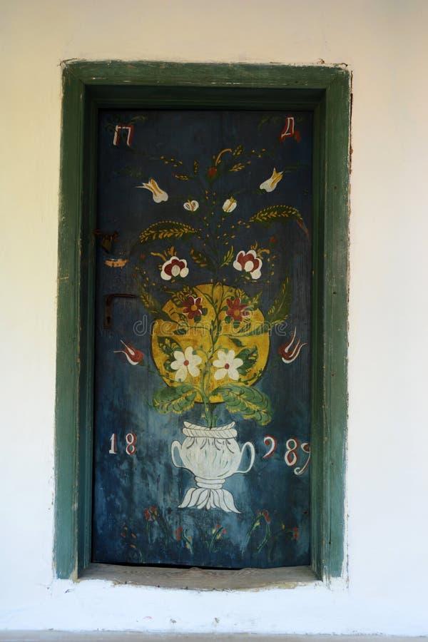Vintage door at Dimitrie Gusti Museum in Bucharest stock photos