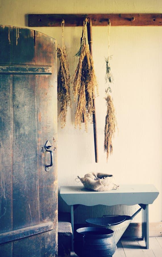 Vintage Door, Drying Herbs royalty free stock photos