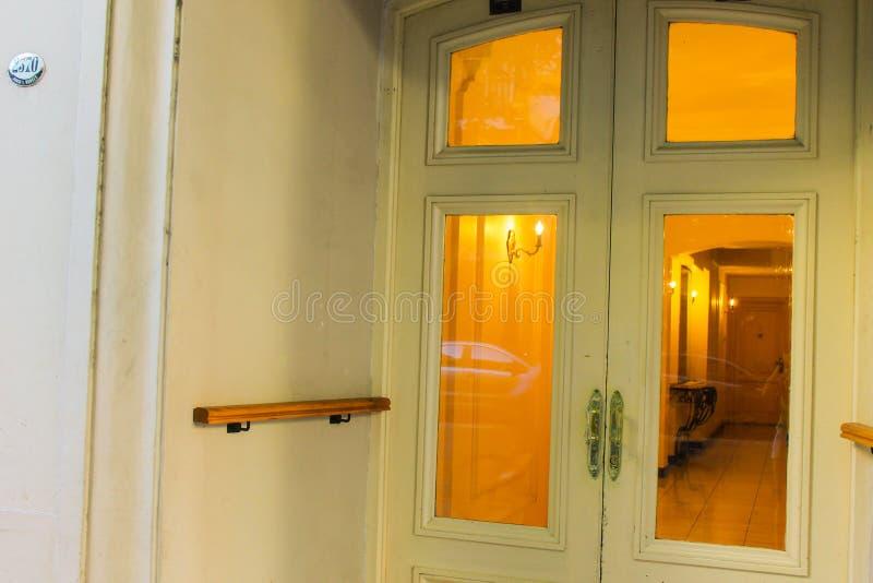 Vintage Door Entrance White View Pattern Closeup stock photos