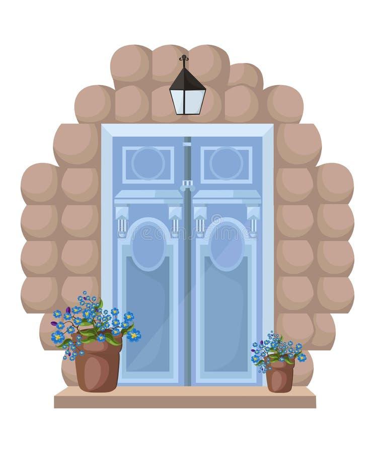 Vintage door facade Vectror. Main entrance illustration stock illustration