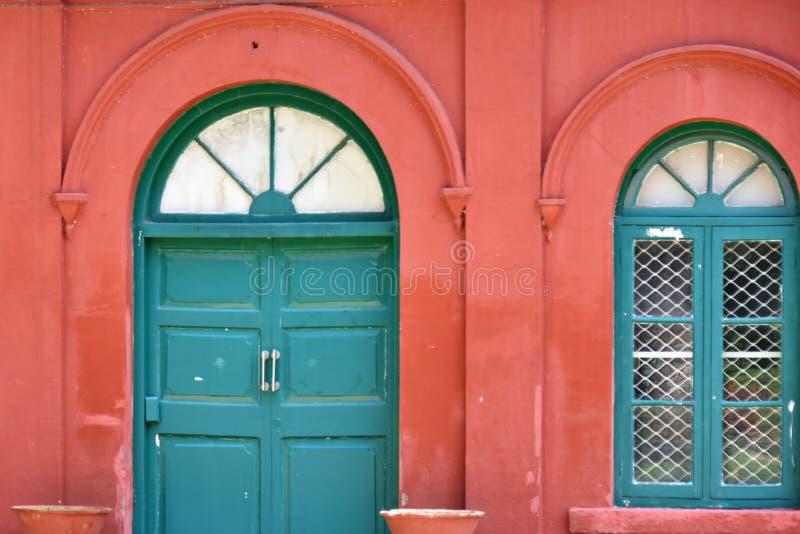 Vintage door and window backgrounds pattern at Lalbagh Botanical Garden, Bangalore. Karnataka stock photo