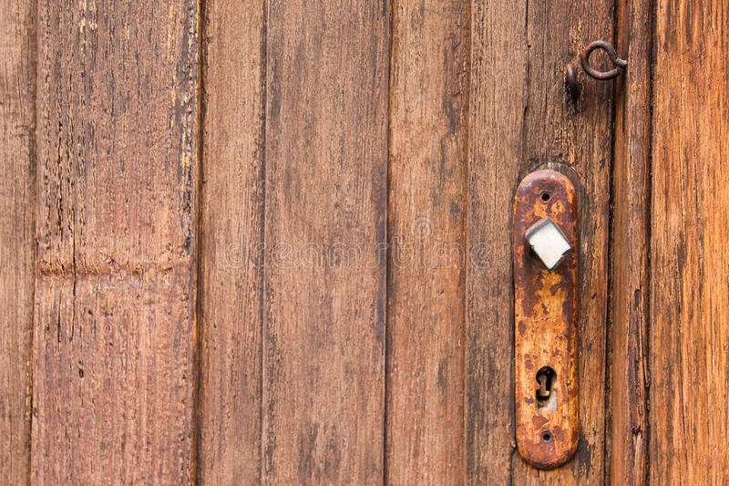 Vintage Doorknob Keyhole Wooden. Surface stock image
