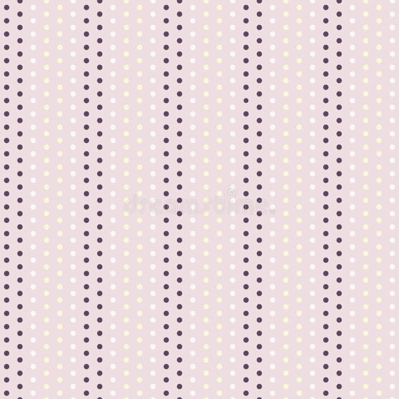 Vintage Dot Stripes do vetor no fundo sem emenda roxo e amarelo cor-de-rosa pastel do teste padrão ilustração royalty free