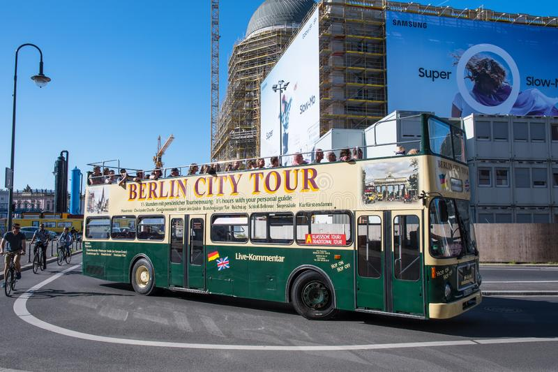 Vintage double decker Berlin city tour bus royalty free stock photography