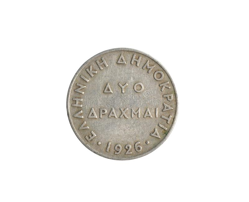 Vintage 2 Drachma coin made by Greece in 1926 royalty free stock image