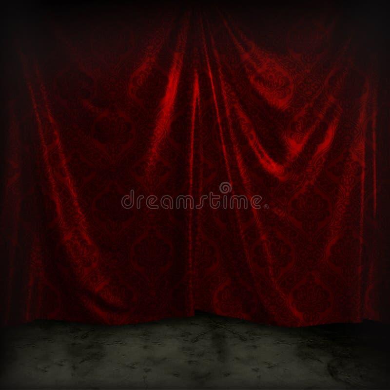 Vintage drapes. Dark red hanging vintage drapes