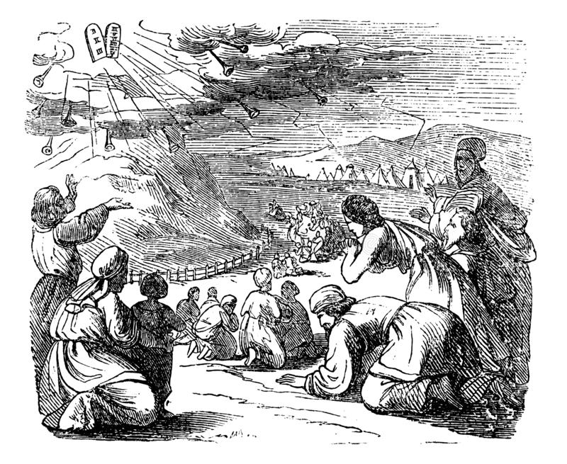 Vintage Drawing of Biblical Story of Israelites Bow Down Under Mount Sinai When Got Give Moses Stone Tablets With Ten. Vintage antique illustration and line vector illustration