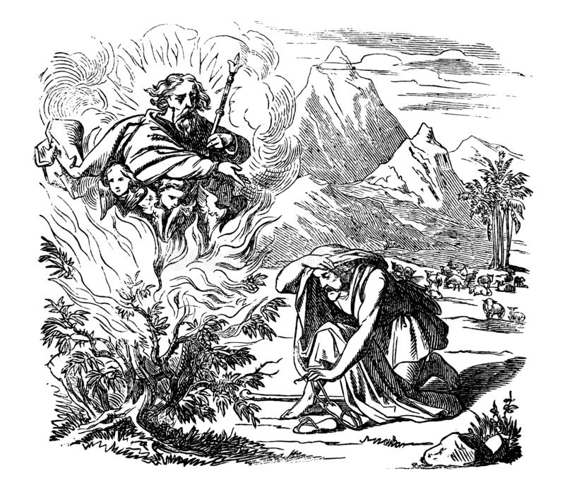 Vintage Drawing of Biblical Story of Moses and the Burning Bush. Vintage antique illustration and line drawing or engraving of biblical story of Moses and the vector illustration