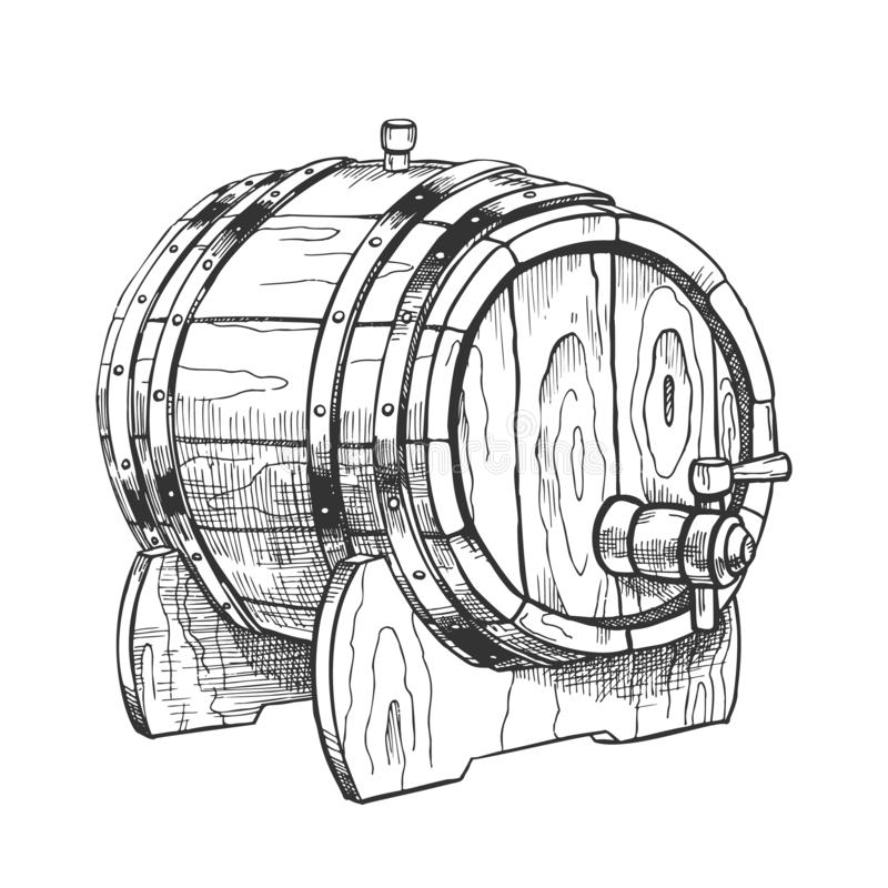 Vintage Drawn Barrel With Tap For Liquid Vector stock illustration